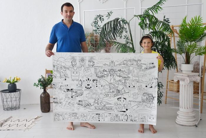 Чаггингтон и паровозик Томас раскраска гигантская