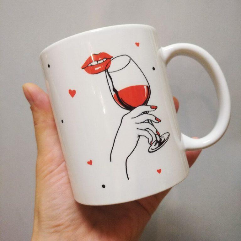 Чашка на заказ для кумы бокал вина