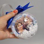 Новогодние шарики с фото с лентой