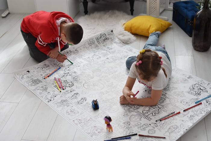 Щенячий патруль гигантская раскраска Маршалл, Зума, Рокки