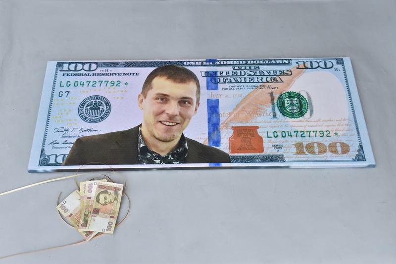 Холст купюра доллар портрет