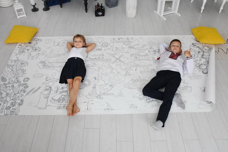 Велика гігантська розмальовка Україна карта
