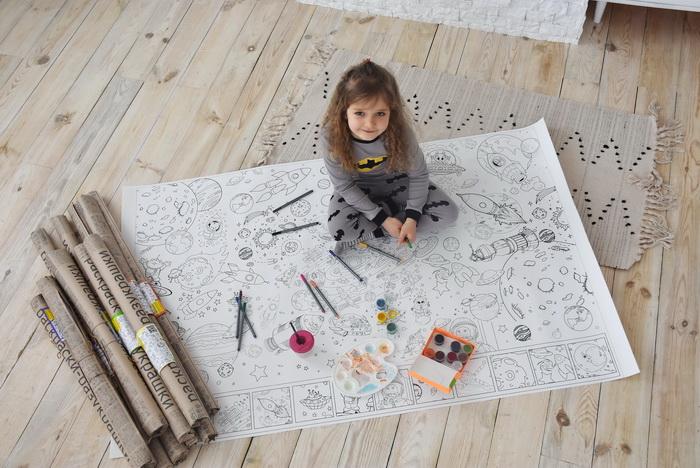 Космос розмальовка велика для дитячого садка