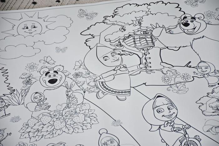 Маша та ведмідь розмальовка велика