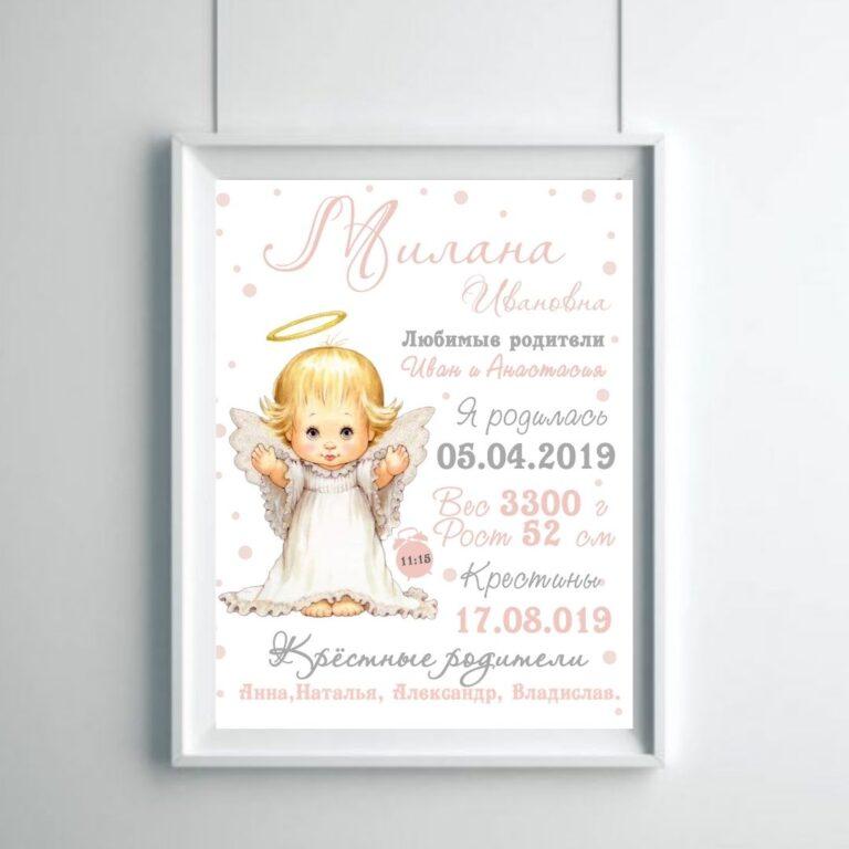 Метрика малыша ангелочек