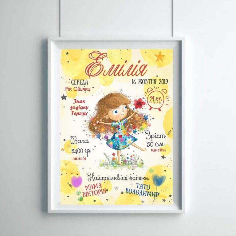 Метрика малыша для девочки Эмилия
