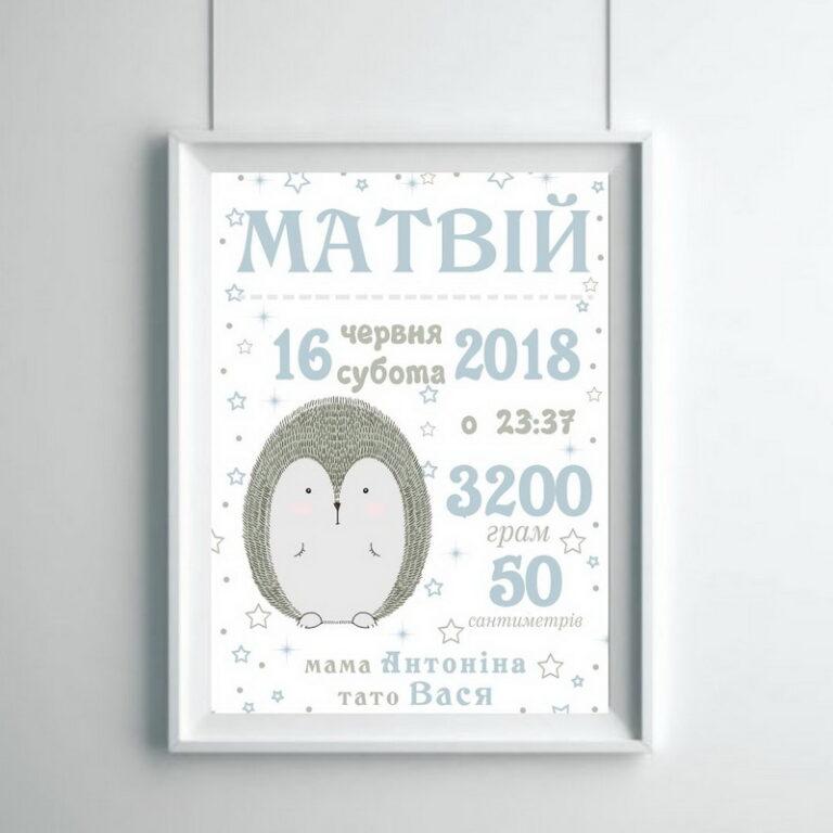 Метрика малыша ежик