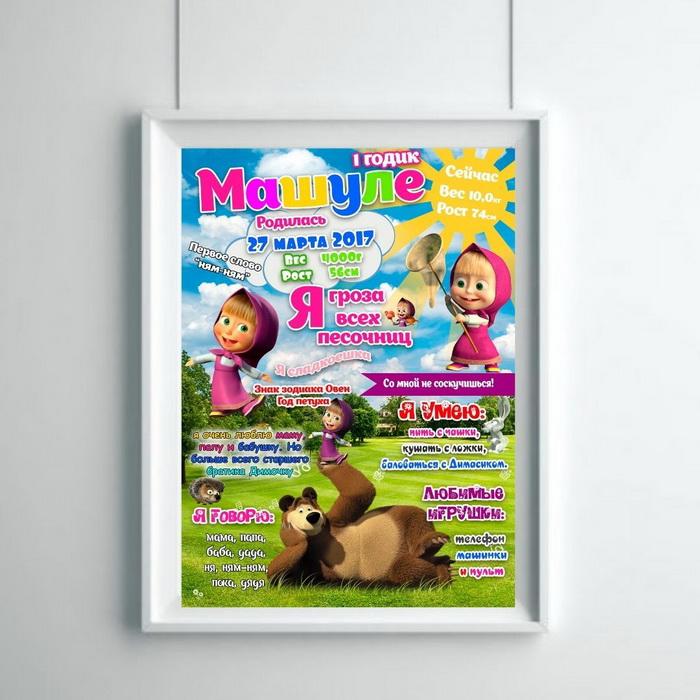 Метрика малыша Маша и медведь