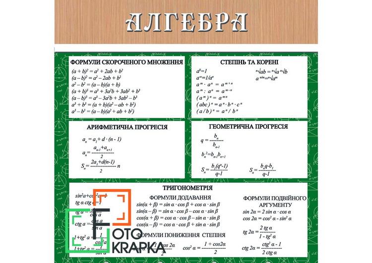 Фотозоны учебные алгебра Украина