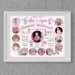 Плакат на годик для девочки розовый